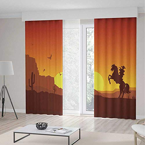 iPrint Western Long Curtains,American Wild West Desert Cowbo