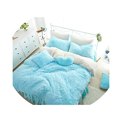 tthappy76 Princess Style Solid Color Snow White Blue Pink Lambs Wool Bed Skirt Duvet Cover Bedspread Bedclothes Bed Linen Bedding Set,4,1.5M Queen 4Pcs