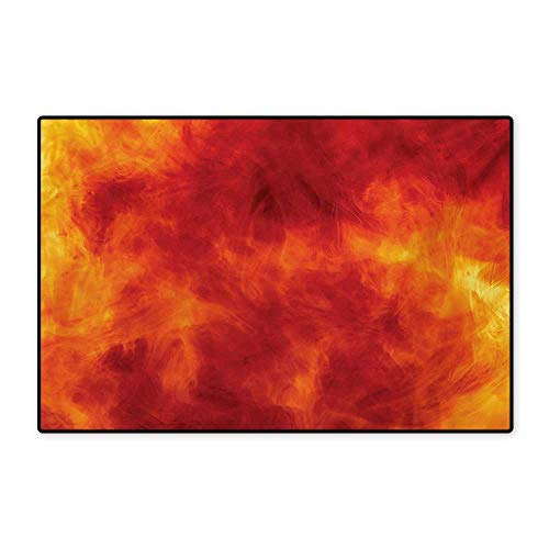 Orange Door Mat Small Rug Graphic of Fire Vibrant Flames Illustration Heat Burning Theme Design Art Print Bath Mat for Bathroom Mat 16