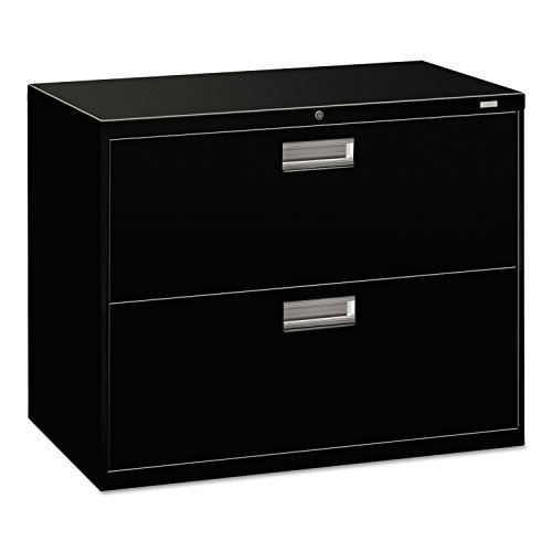 HON 2-Drawer Filing Cabinet - 600 Series Lateral Legal or Letter File Cabinet, Black (H682) from HON