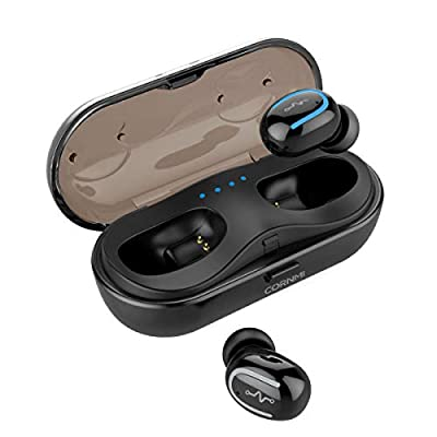 Wireless Earbuds Mic Bluetooth Headphones in-Ear Stereo Earphones Mini True Wireless Headphone Earbuds Noise Cancelling Headsets with Charging Case - Black…