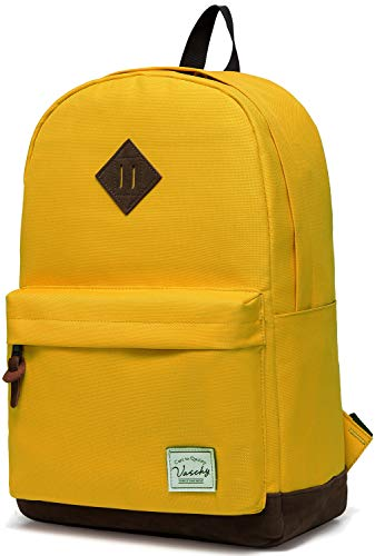 Vaschy Unisex Classic Water Resistant School Backpack Bookbag for College Fits 14Inch Laptop Yellow