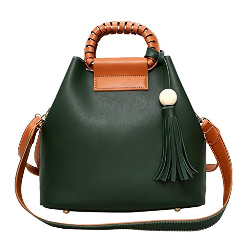 Women Hobo Bag Leather Round Handle Bucket Leather Bag with Tassel Pendant Crossbody Casual Bag Large Capacity