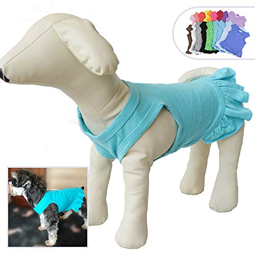 (Pet Clothes Small Dog Clothing Blank Color Sport Dress T-Shirts Tee Dresses Tanks Top for Small Size Female Dogs Summer Spring Pet Costumes 100% Cotton (L,)