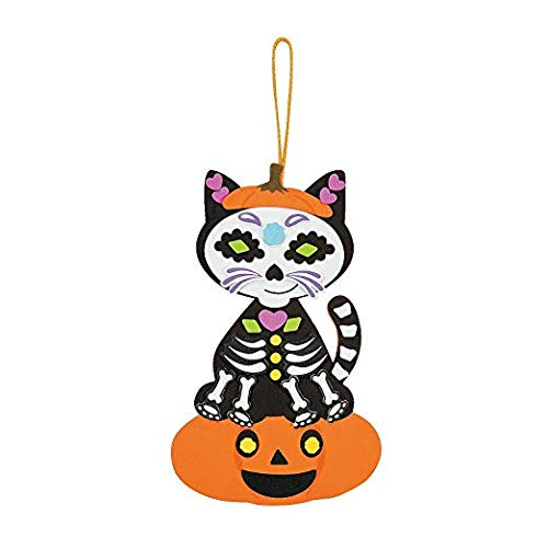 Fun Express Sugar Skull Cat Foam Hanging Halloween Craft Kit Day of The Dead-Makes 12