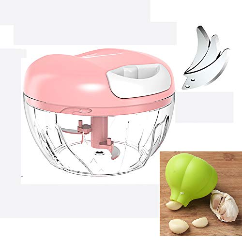 YLIAN Vegetable Choppers Kitchen Garlic Press Food Crusher With Green Silicone Garlic Peelers Kitchen Utensils For Nuts, Herbs, Garlic, Ginger,onion Easy To Clean (485ml) (Color : Pink)