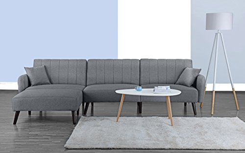 (Divano Roma Furniture Mid Century Modern Style Linen Fabric Sleeper Futon Sofa, Living Room L Shape Sectional Couch with Reclining Backrest and Chaise Lounge (Light Grey))