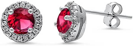 Halo Simulated Ruby & Cz Stud .925 Sterling Silver Earrings