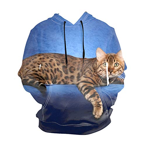 Beautiful Bengal Cat On A Blue Background Teen Full Sleeve Pullover Patched Hooded Sweatshirt Pockets Tops