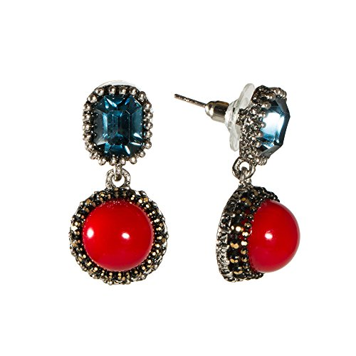 Elegant Women Lady Red Blue Drop Earrings English Lock Plastic Glass Boho Victorian Dangle Jewelry (Drop Glass Dangling Earrings)