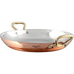 Tin Lined Copper Egg Pan with Bronze Handles.: Diameter 4 3/4\