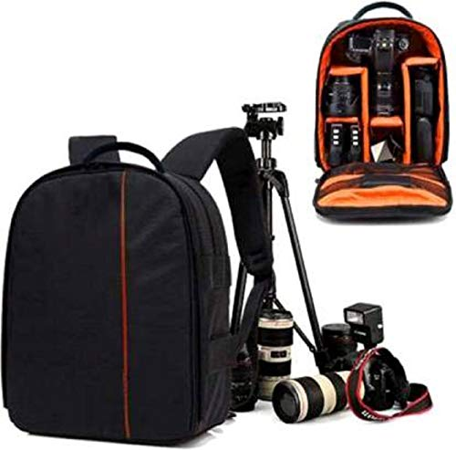 WORLD LOOK Shoulder Backpack to Carry DSLR SLR Lens Camera Bag (Orange, Black)