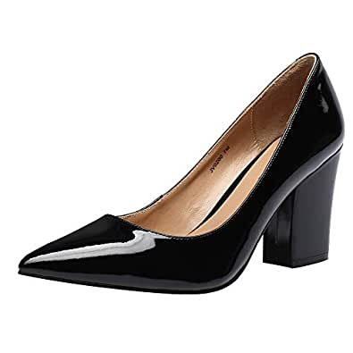 JARO VEGA Women's Pointed Toe Pumps Patent Leather, Stable Chunky High Heel Handmade Dress Shoes Black Size: 6.5