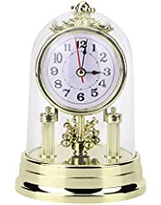 Retro Table Clock, Silent European Style Vintage Desk Clock, Battery Operated Decorative Antique Retro Clock for Hotel, Office, Home, Living Room Decor, Birthday (Gold)