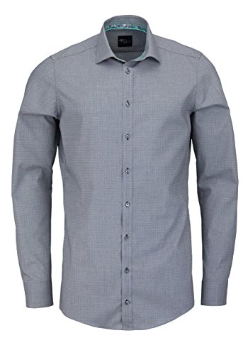 VENTI Slim Fit Hemd Langarm mit Besatz Struktur dunkelgrau