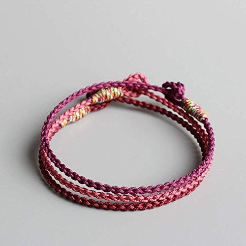 TALE Super Thin Lucky Rope Bracelet Handmade By Tibetan Buddhist Attrat Good Luck, Pink, Purple, Deep red