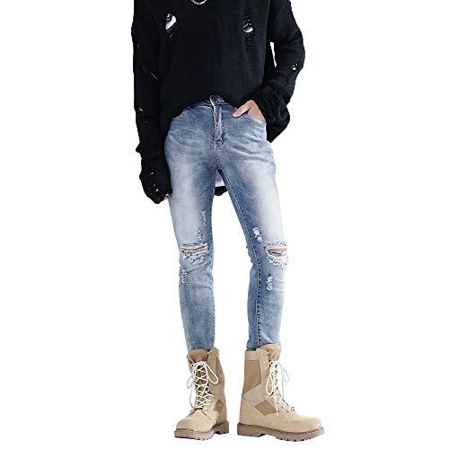 DORIC Wholesale Men Slim Hole Zipper Denim Jeans Skinny Frayed Pants Distressed Rip Trousers Blue