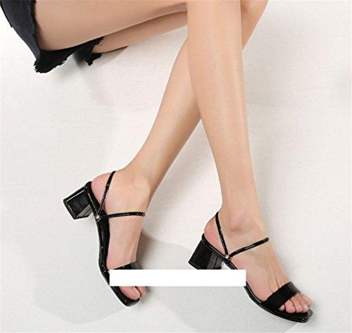 Spesso Open Black Casual Unita Low Pantofole Donna Comode BIANJESUS Quadrato Outdoor Tacco Block Sandali Donna Toe Tacco Scarpe Tinta EU37 Estate nxUwP81