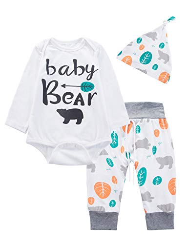 3PCS Newborn Boys Girls Baby Bear Outfit Set Cute Long Sleeve Romper (0-3 Months) -