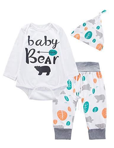 3PCS Newborn Boys Girls Baby Bear Outfit Set Cute Long Sleeve Romper (3-6 Months) ()