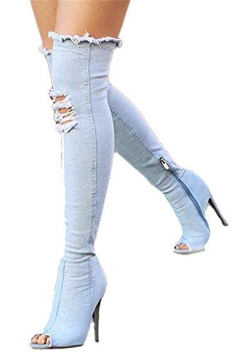 Knee High Open Toe Heels (RU HUA Women Long Thigh High Over Knee Open Toe Stiletto Heel Denim Boots )