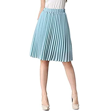 52d402704b uideazone Fashion Women's Summer Midi Pleated Skirts High Waist Knee-Length  Skirt - Black -