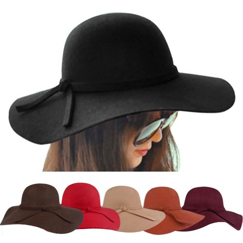 6c07a66d8ceff FUNOC Fashion Vintage Women Ladies Floppy Wide Brim Wool Felt Fedora Cloche  Hat Cap
