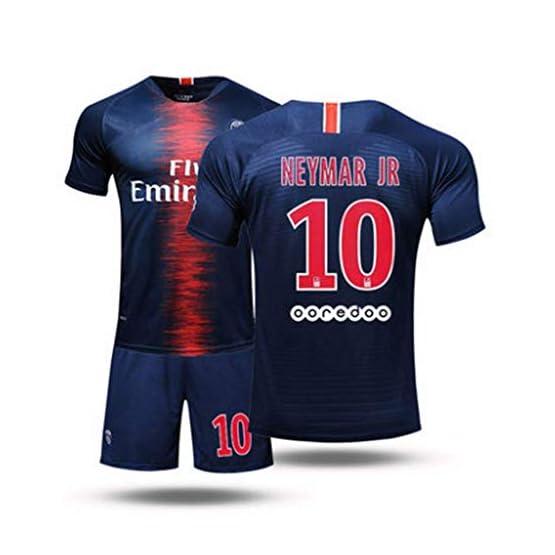 LHWLX 2019 Ensembles de Sport T-Shirt et Un Short, Maillot de Football Garçon No.10 Manche Courte Suit de Football pour Les Fans de Football Maillot De Neymar JR Adultes et Enfants