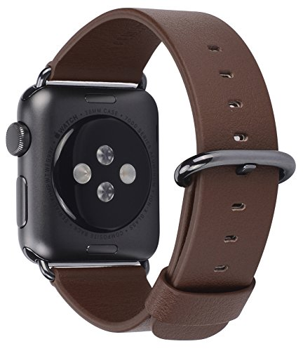 JSGJMY Apple Watch Band 42mm Brown Genuine Leather Strap Replacement Watchbands for iWatch Series 2/Series 1/Edition/Sport(Brown+Black Buckle)