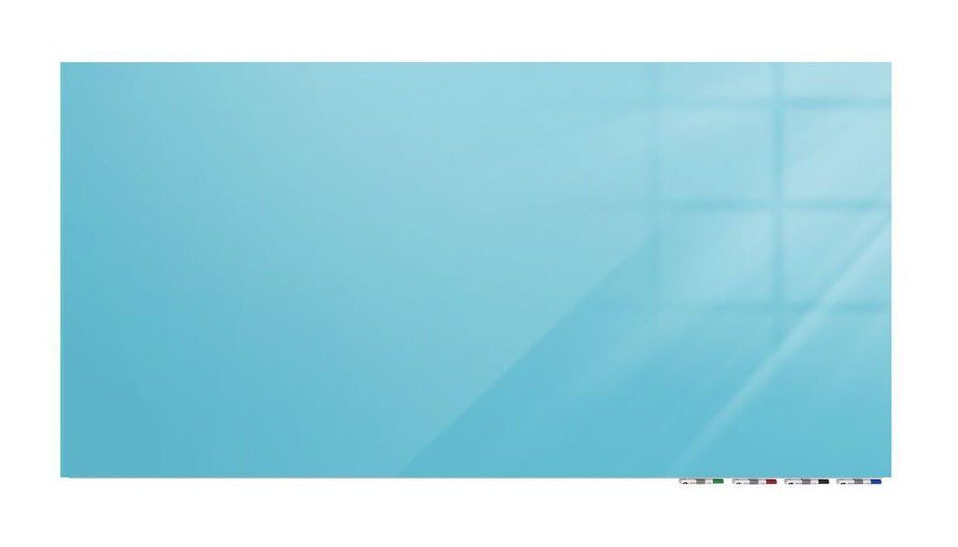 Aria 3'H x 4'W Low Profile 1/4'' Glass Whiteboard - Horizontal Blue - 4 Markers and Eraser