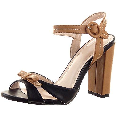 Sopily - Scarpe da Moda sandali scarpe decollete Stiletto alla caviglia donna Finitura cuciture impunture papillon Tacco a blocco tacco alto 10 CM - Nero