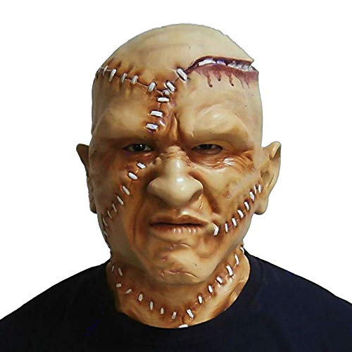 Scary Sutural Human Face Mask Frankenstein Monster Full Head Halloween Costume Disguise ()