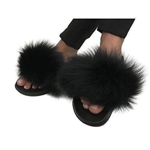 Real fur fox Slippers Slides Sandals flat Flip Flops