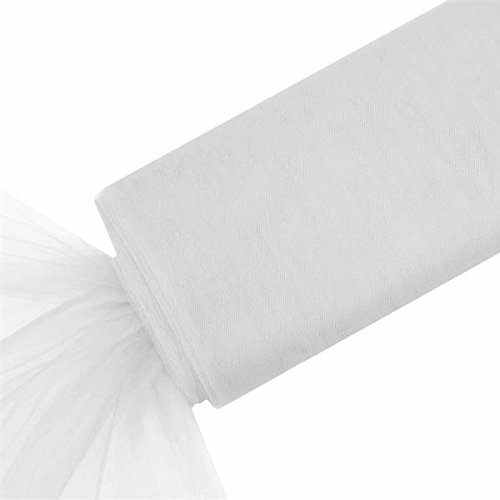 BalsaCircle 54-Inch x 120 feet White Large Net Tulle Fabric by the Bolt - Wedding Party Decorations Sewing DIY Crafts Costumes (Circle Veil Tulle White)