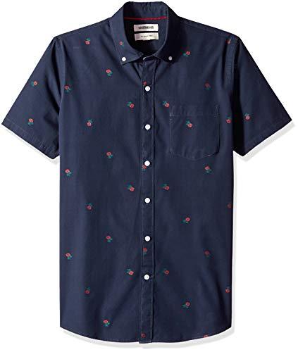 (Goodthreads Men's Slim-Fit Short-Sleeve Dobby Shirt, -navy rose, Medium)
