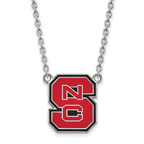 925 Sterling Silver Officially Licensed North Carolina State University College Large Enamel Pendant with Necklace (18 in x 1.95 mm) by Unknown
