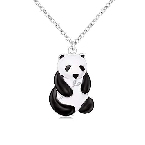 TUSHUO Simple Silver Plated Enamel Giant Panda Pendant Necklace Costume Sweater Long Chain Necklace for Anyone -