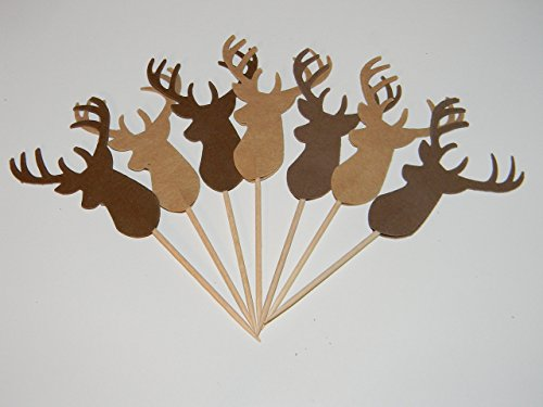 24 Shades of brown Deer Buck Head cupcake toppers food picks Baby Birthday Shower Christmas Party decor