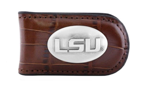 NCAA Lsu Tigers Tan Crocodile Leather Magnet Concho Money Clip, One Size