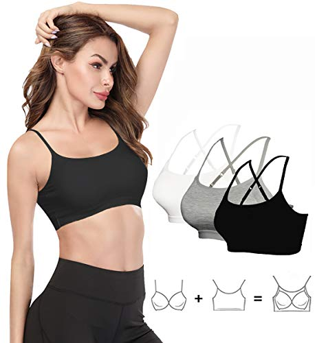 KIWI RATA Seamless Crop Top with Built in Bra for Women,Short Half Camisole for Daily Yoga Criss Cross Back Camsole Black/White/Grey S