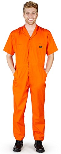 Natural Workwear - Mens Short Sleeve Coverall, Orange 38872-Large