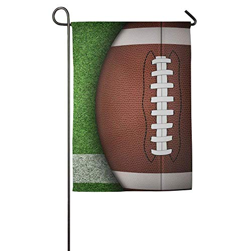 American Football Ball On Green Grass and White Line. Garden Flag Indoor & Outdoor Decorative Flags for Parade Sports Game Family Party Wall Banner 12x18 inches