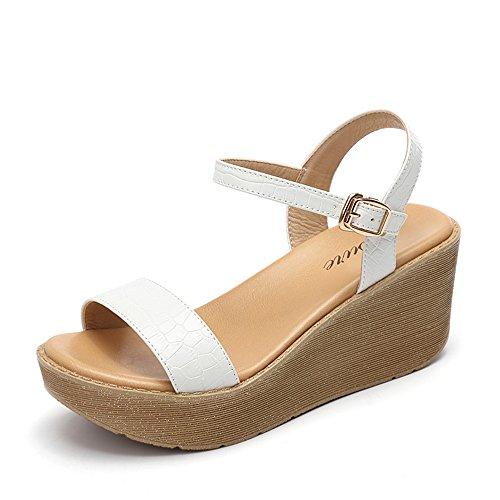 hauts chaussures HAIZHEN Sandales femmes femmes 5 UK3 en 7cm talons étudiantes CN35 Noir pour Blanc EU36 Pour Khaki à Sandales Blanc Blanc Couleur été taille zdrqdw