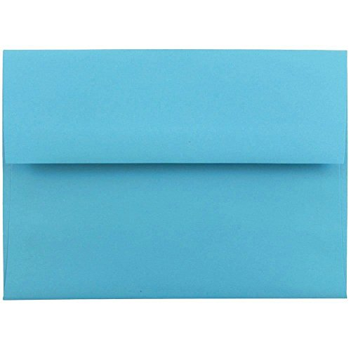 "JAM Paper A6 Invitation Envelopes- 4 3/4"" x 6 1/2"" - Brite Hue Blue Recycled - 25/pack"