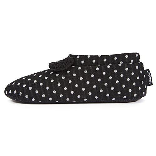 Negro Zapatillas mujer para botines Isotoner qqF8CI7wx