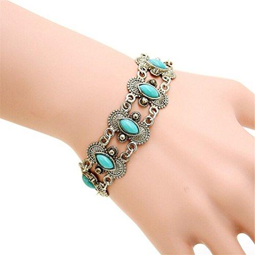 (Meenanoom Women Silver Turquoise Bangle Bracelet Wrist Band Jewelry)