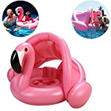 Baby Swimming Ring Float Boat for Kids Swim Pool Inflatable Floating Flamingo Boats with Seat Beach Water Toys