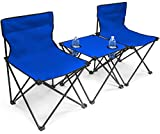 Sorbus Camp Chairs Table Set with Cup Holder Cooler, Foldable Frame, and Portable Carry Bag, Great for Camping, Sporting Events, Beach, Travel, Backyard, Patio, etc (Chair Table Set – Blue)