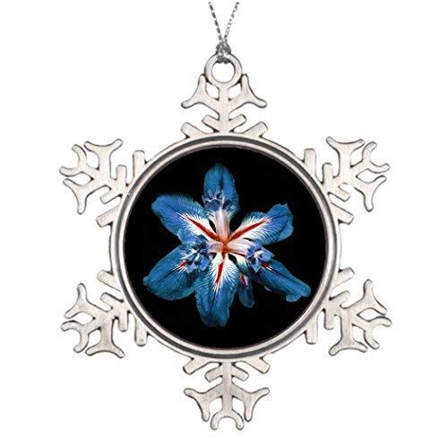 (OneMtoss Christmas Snowflake Ornament Personalized Family Christmas Snowflake Ornaments Red Flor de la Mar - Christmas Photo Snowflake)