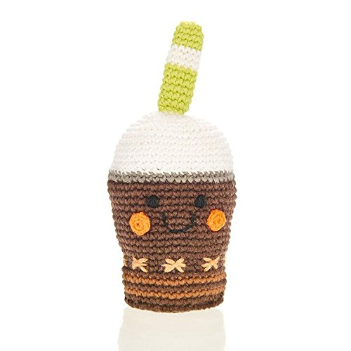 Friendly Chocolate Frappe Hand Made Plush Rattle Pebble Fair Trade